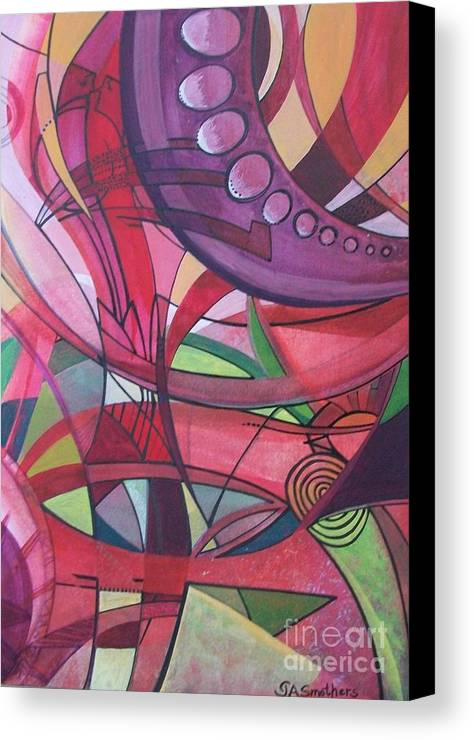 Abstract Canvas Print featuring the painting Bridges To Nowhere by Judith A Smothers