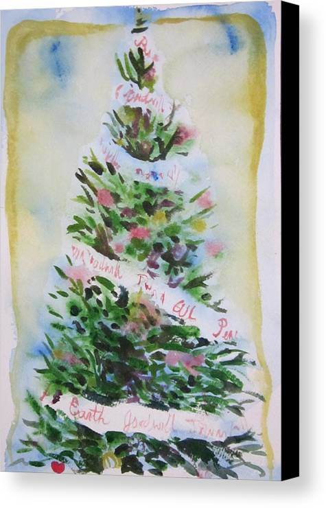 Tree Canvas Print featuring the painting Christmas Tree by Tilly Strauss