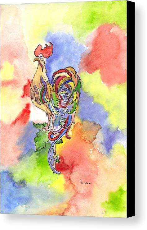 Rooster Canvas Print featuring the painting Colorful Rooster by Theresa Jones