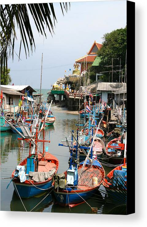 Temple Canvas Print featuring the photograph Fishing Boats by Adrian Evans