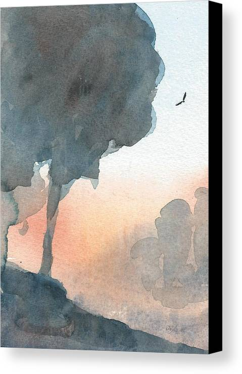 Watercolour Landscape Canvas Print featuring the painting Hawk Above The Trees At Sunset by Alan Daysh