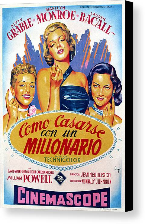1950s Poster Art Canvas Print featuring the photograph How To Marry A Millionaire, Betty by Everett