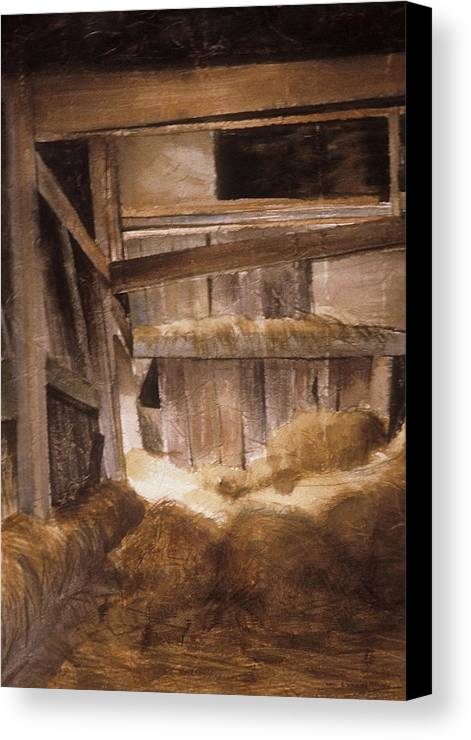 Wood Canvas Print featuring the painting Inside Keeler's Barn by Karol Wyckoff