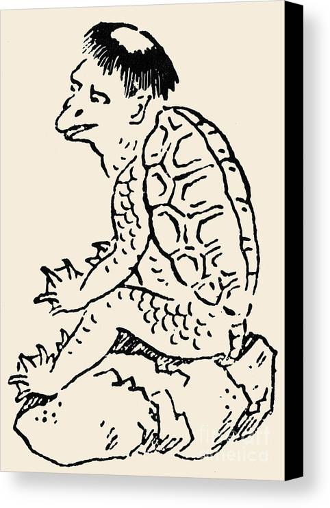 Drawing Canvas Print featuring the photograph Japanese Folklore: Kappa by Granger