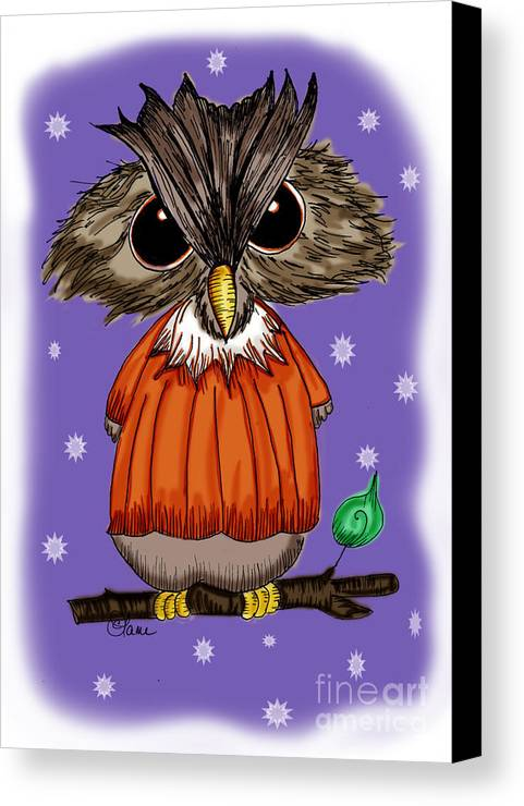 Owl Canvas Print featuring the drawing Oscar Owl by Tammy Talerico