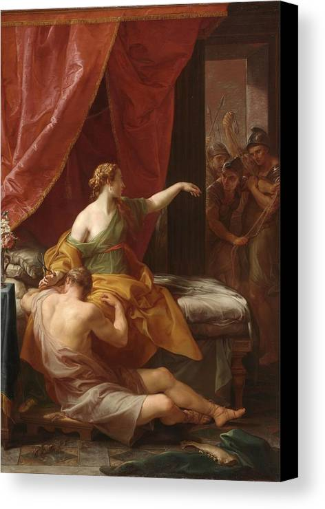 Samson Canvas Print featuring the painting Samson And Delilah by Pompeo Girolamo Batoni