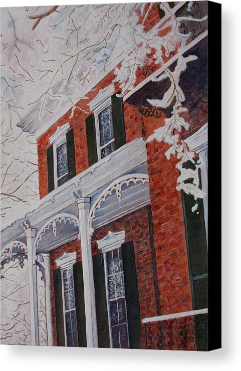 Historic Snowy Mansion Canvas Print featuring the painting Snowy Yesteryear by Patsy Sharpe