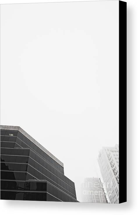 Architectural Detail Canvas Print featuring the photograph Step Tiered Office Building With Dark Windows by Jetta Productions, Inc