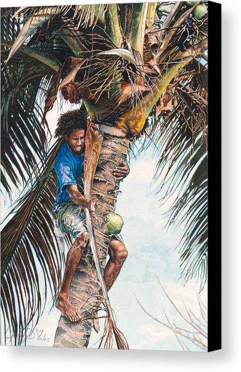 Tree Canvas Print featuring the painting The Coconut Tree by Gregory Jules