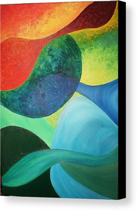 Four Canvas Print featuring the painting The Four Elements by Derya Aktas