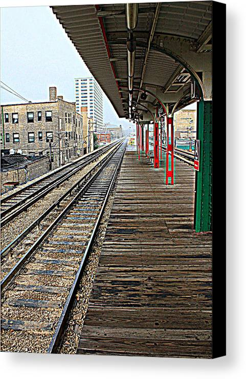 Chicago Rail System Canvas Print featuring the photograph Track Lines by Ryan and Karin Keranen