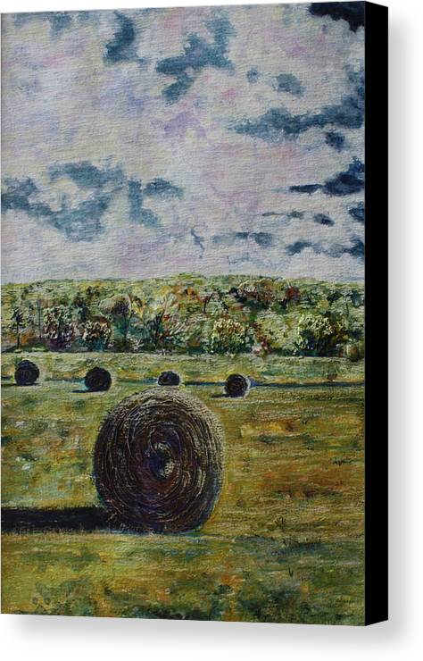 Turbulent Skies Canvas Print featuring the painting Uncertain Skies by Patsy Sharpe