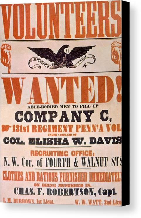 union army recruiting poster ca 1861 canvas print canvas art by