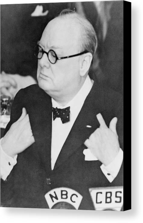 History Canvas Print featuring the photograph Winston Churchill 1874-1965 by Everett