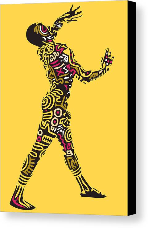 Keithharing Canvas Print featuring the digital art Yellow Haring by Kamoni Khem