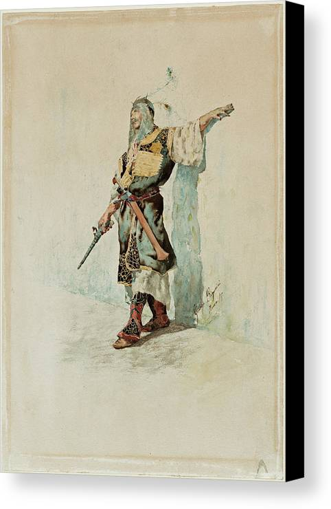 Giuseppe Signorini Canvas Print featuring the painting A Moorish Soldier Before A Sunlit Wall by Giuseppe Signorini