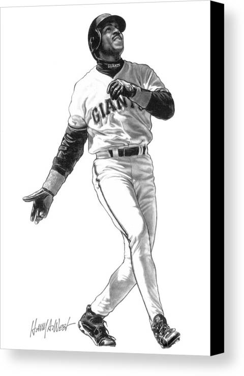 Barry Bonds Canvas Print featuring the drawing Barry Bonds by Harry West
