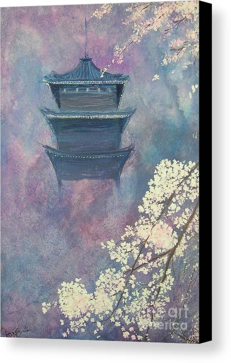 Landscape Japan Canvas Print featuring the painting Japanese Spring Scene by Lizzy Forrester