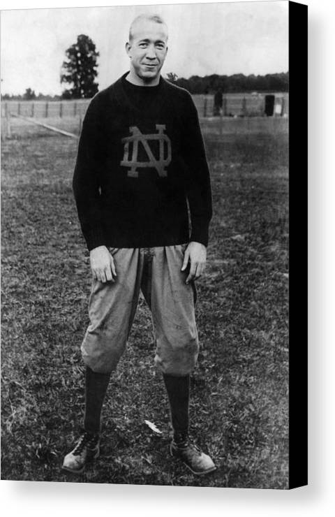 1930s Portraits Canvas Print featuring the photograph Knute Rockne, University Of Notre Dame by Everett