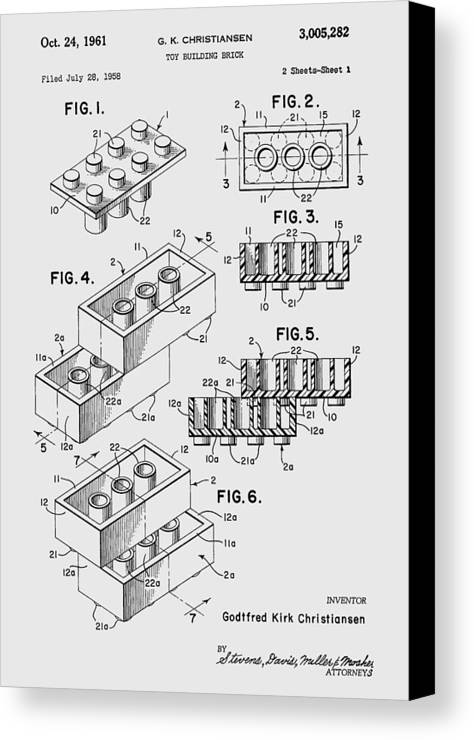 Lego Canvas Print featuring the photograph Lego Toy Building Brick Patent by Chris Smith