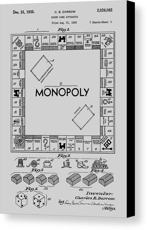 Monopoly Canvas Print featuring the photograph Monopoly Patent 1935 by Chris Smith