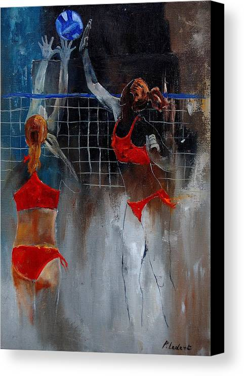 Sport Canvas Print featuring the painting Playing Volley by Pol Ledent
