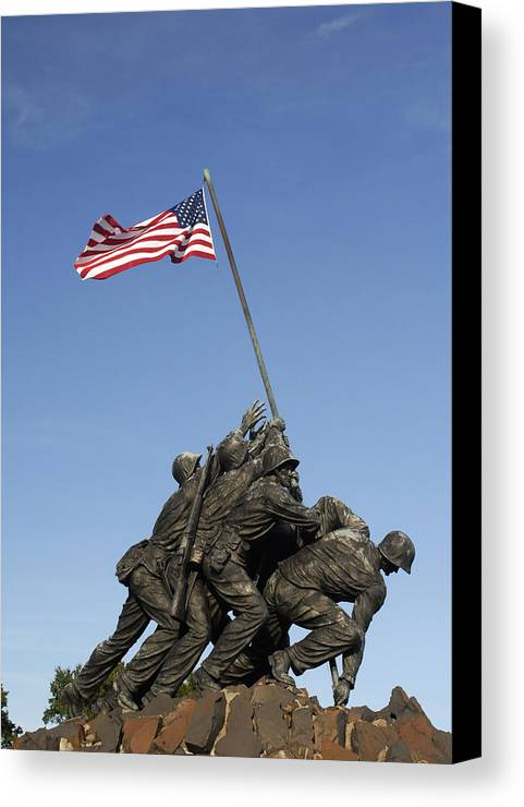 Marines Canvas Print featuring the photograph Raising The Flag On Iwo - 799 by Paul W Faust - Impressions of Light
