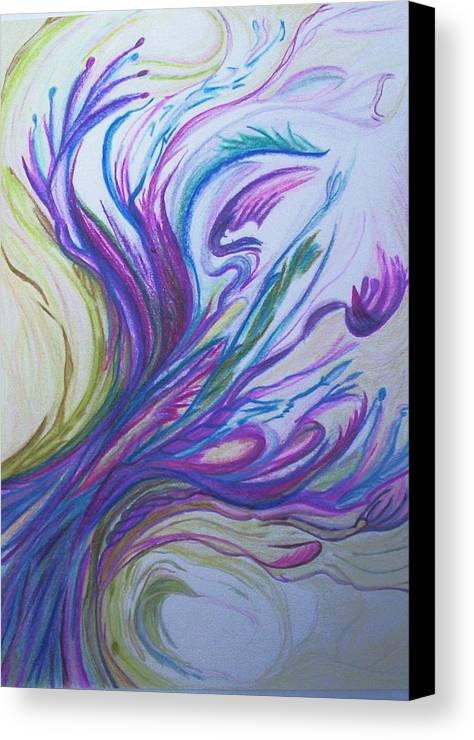 Abstract Canvas Print featuring the painting Seaweedy by Suzanne Udell Levinger