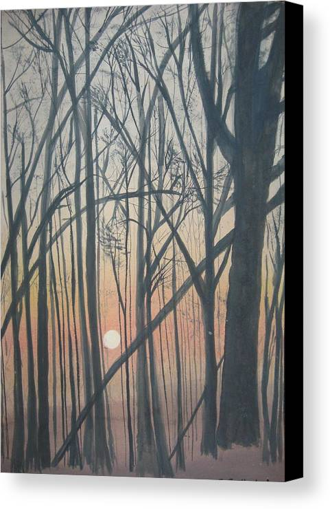 Trees Canvas Print featuring the painting The Pines From The Treehouse by Sheryl Sutherland