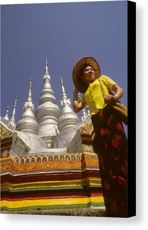 Tall Canvas Print featuring the photograph Woman At Golden Temple In China by Carl Purcell