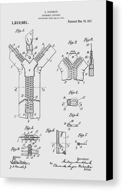 Zipper Canvas Print featuring the photograph Zipper Patent Art by Chris Smith