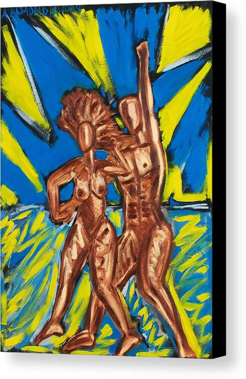 Figure Canvas Print featuring the painting 2 Nude Dancers by Albert Almondia