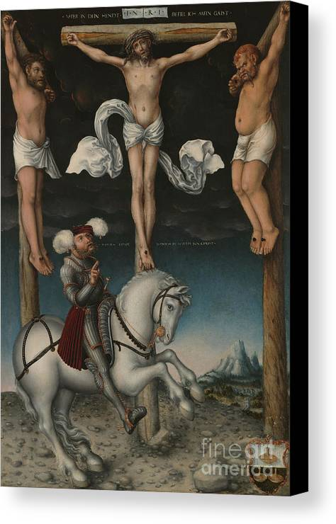 The Crucifixion With The Converted Centurion Canvas Print featuring the painting The Crucifixion With The Converted Centurion by Lucas Cranach the Elder