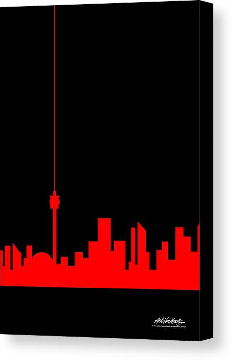 Canvas Print featuring the painting Toronto Skyline by Asbjorn Lonvig