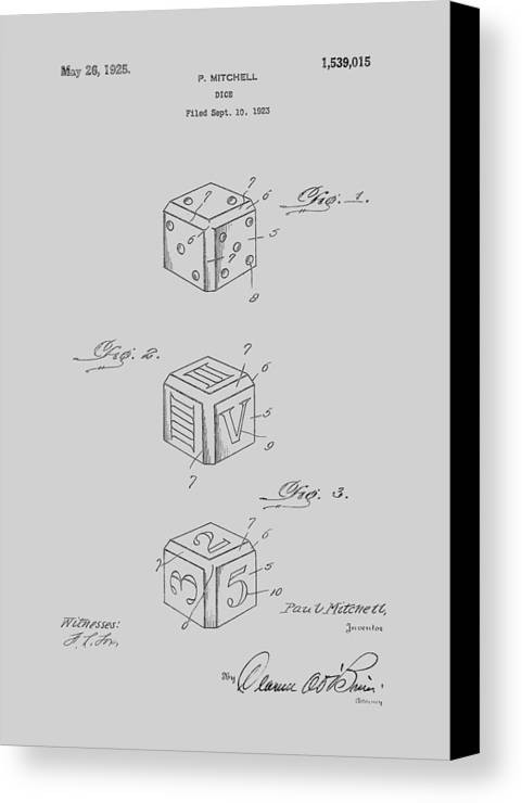 Dice Canvas Print featuring the photograph Dice Patent From 1923 by Chris Smith
