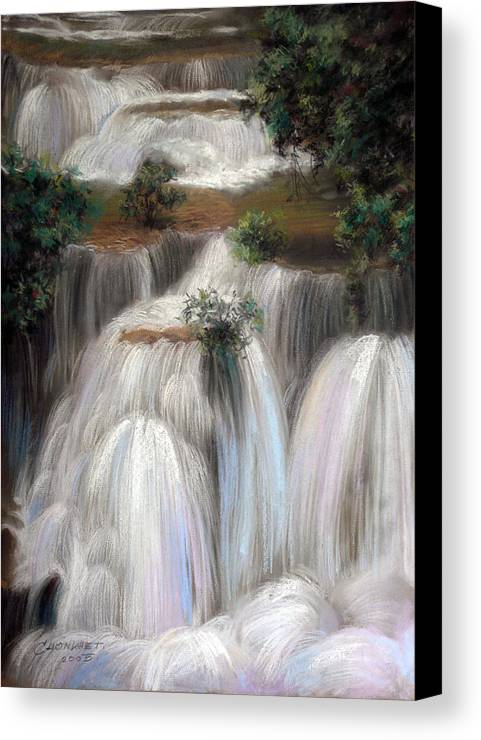 Pastel Canvas Print featuring the painting Thai Landscape by Chonkhet Phanwichien