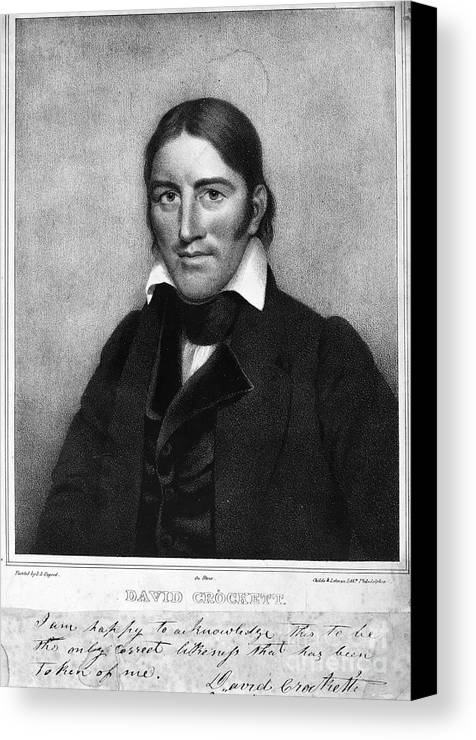 1830 Canvas Print featuring the photograph Davy Crockett (1786-1836) by Granger