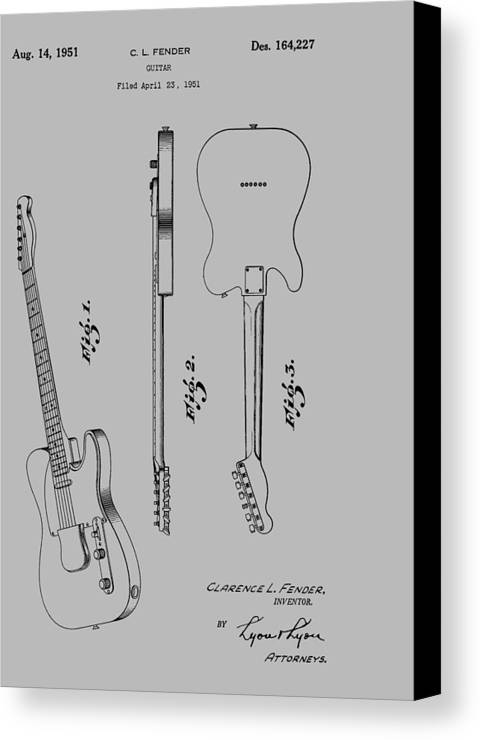 Fender Canvas Print featuring the photograph Fender Guitar Patent From 1951 by Chris Smith
