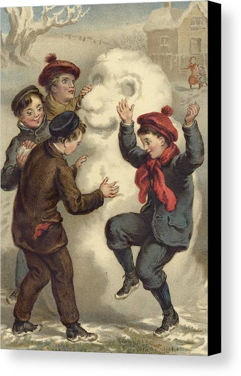Snowman Canvas Print featuring the painting Vintage Christmas Card by English School