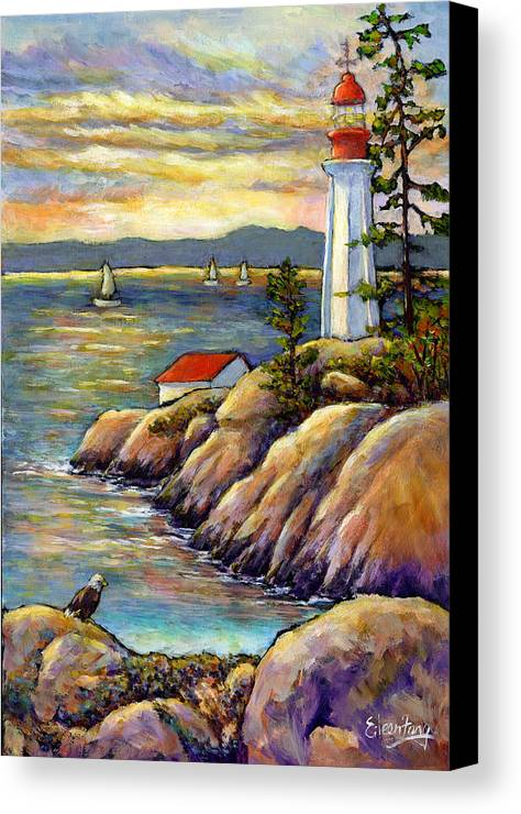 Lighthouse Canvas Print featuring the painting A Moment By The Sea by Eileen Fong