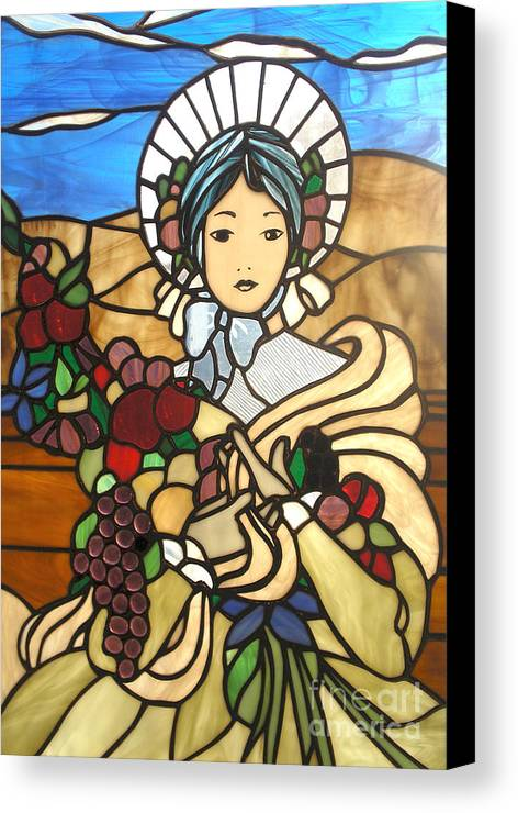 Pioneer Woman Canvas Print featuring the glass art A Wealth Of Abudance by David Gomm