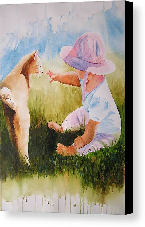 Baby Canvas Print featuring the painting Abbie's Kitty by Karen Stark