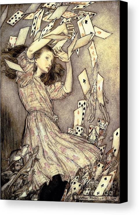 Illustration Canvas Print featuring the drawing Adventures In Wonderland by Arthur Rackham