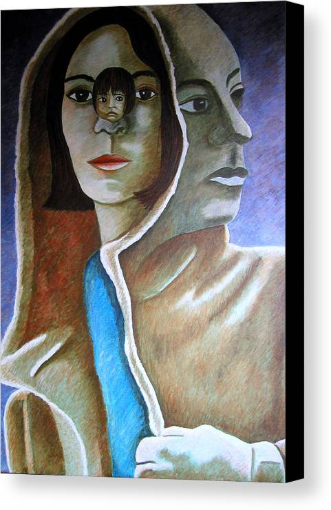 Identity (symbolic Art) Canvas Print featuring the painting Am I The Child I Used To Be Or The Woman I Am Now by Tanni Koens