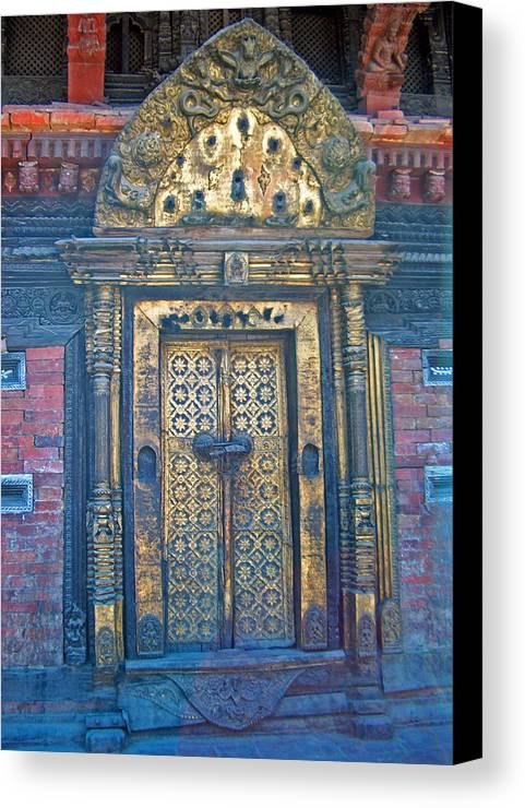 Nepal.golden Doors Canvas Print featuring the photograph Ancient Door In Katmandu Nepal by Dorota Nowak