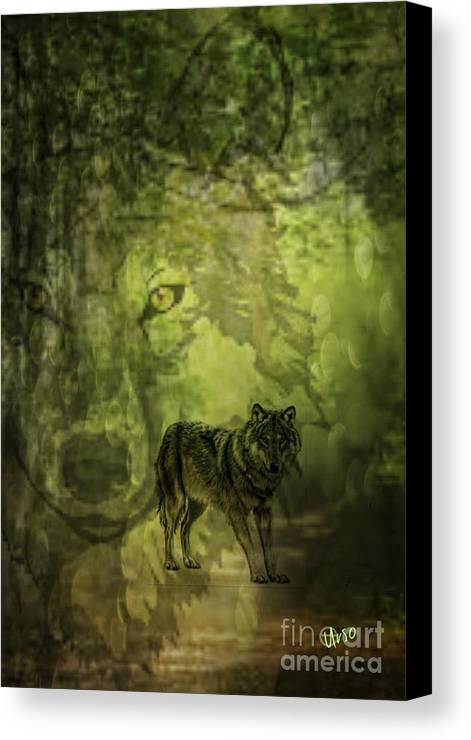 Animal Spirits - The Wolf Canvas Print featuring the digital art Animal Sprits - The Wolf by Maria Urso