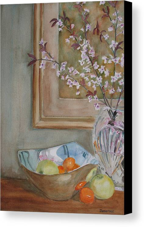 Apples Canvas Print featuring the painting Apples And Oranges by Jenny Armitage