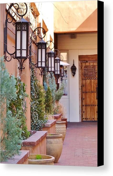 Santa Fe Canvas Print featuring the photograph Santa Fe Garden Courtyard by Cherie Cokeley