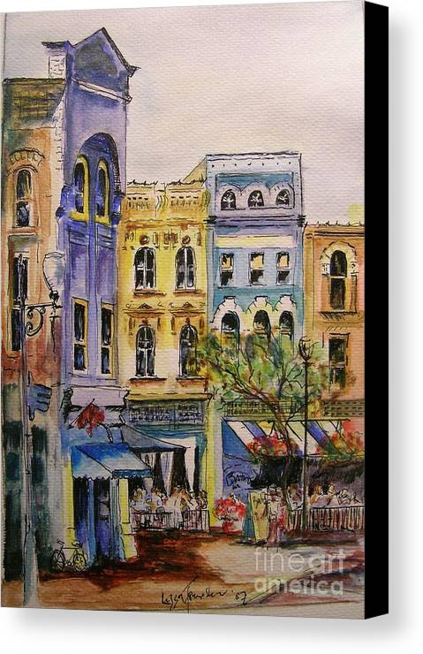 Townhouses Canvas Print featuring the painting Asheville by Lizzy Forrester