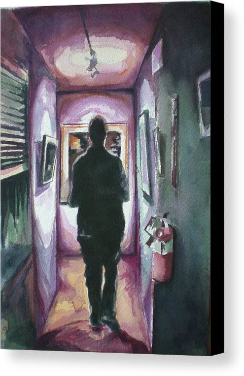 Canvas Print featuring the painting At The Gallery by Aleksandra Buha